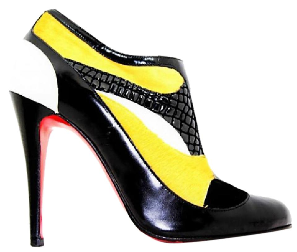 Christian Louboutin Black Pony Hair Lady Leather Ankle High Heel Lady Hair Fashion Red Sole Toe Italy Boots/Booties d8807e