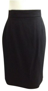Chanel Classic Must Have Linning Chic France Wool Silk Career Meetings Executive Skirt Black