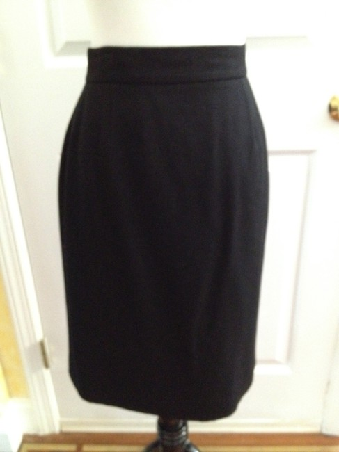 Chanel Classic Chic Wool Silk Skirt Black