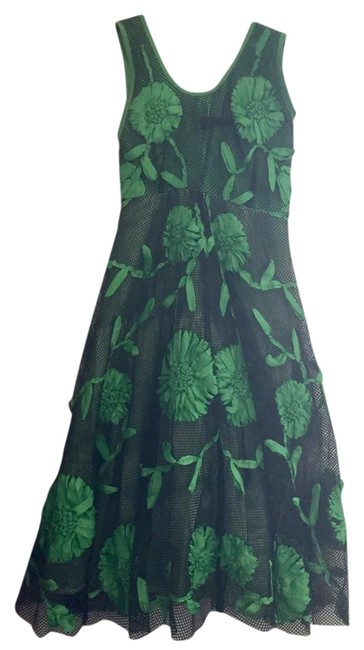 Preload https://img-static.tradesy.com/item/21574015/tracy-reese-black-green-mesh-ribbon-decal-evening-a-line-gown-mid-length-formal-dress-size-0-xs-0-1-650-650.jpg
