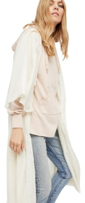 Free People Gauzy Airy Cotton Dramatic Side Vents Sheer + Ethereal Bell Shaped Sleeves Raw Edges Cardigan