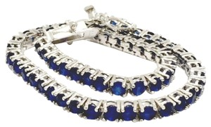 Other 5.00ctw Genuine Sapphire 925 Sterling Silver & 18k White Gold Bracelet