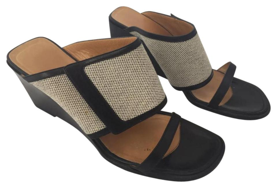 6dfdab7a2405 Hermès Black and Beige Calfskin Wedge Sandals Size US 6.5 Regular (M ...