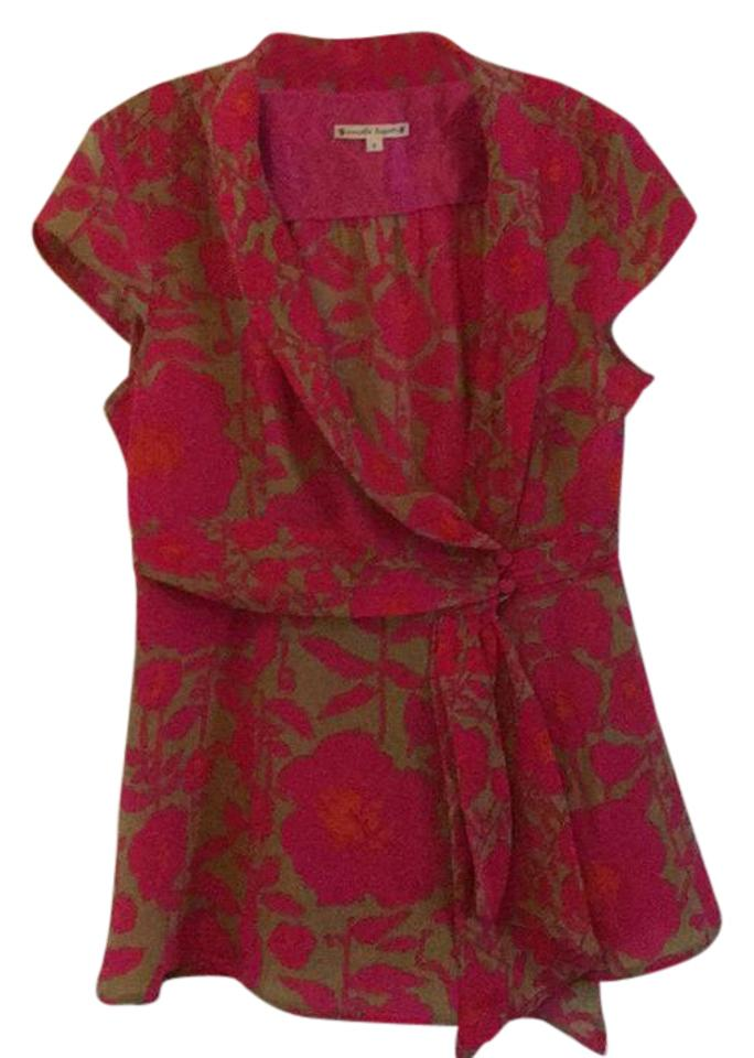 1c5d929d9e4ab4 Nanette Lepore Silk Wrap Blouse Red and Pink W Tan Background Top ...
