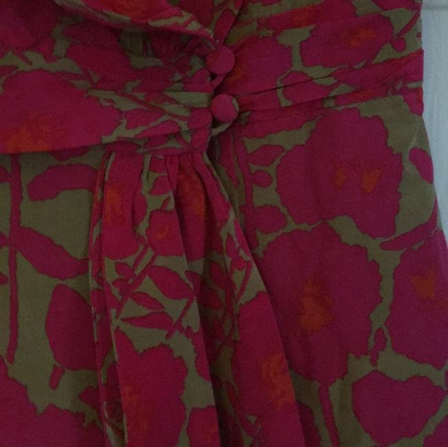 Nanette Lepore Top red and pink w tan background