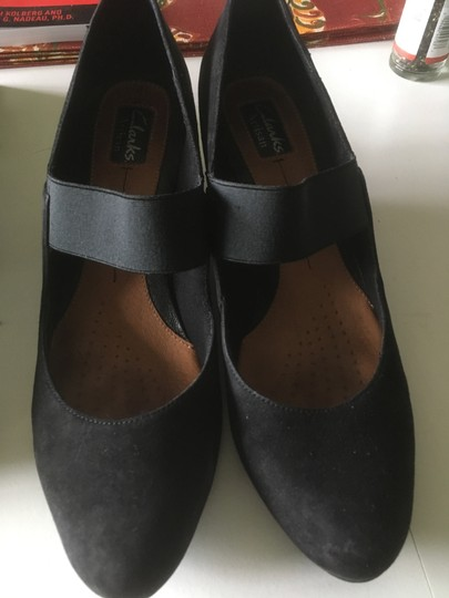 Clarks Suede Mary Jane Black Pumps