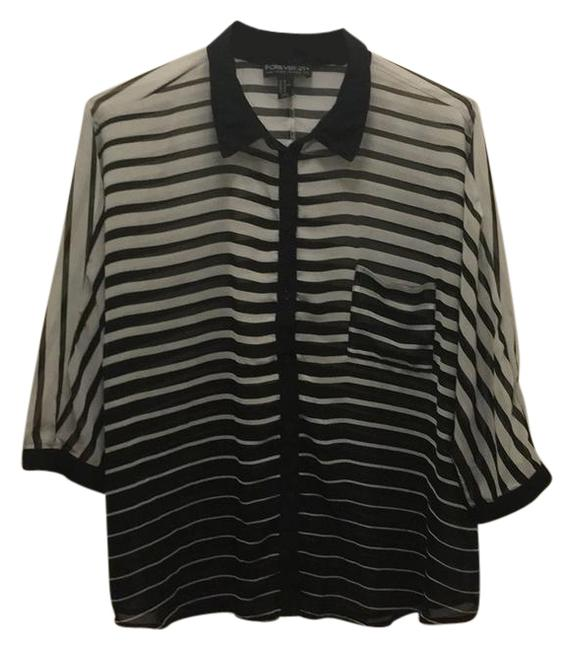 Preload https://item5.tradesy.com/images/forever-21-black-and-white-blousy-button-up-button-down-top-size-26-plus-3x-21575134-0-1.jpg?width=400&height=650