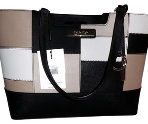 Calvin Klein Collection Nice Exterior Detail Saffiano Leather Tote in black/white/nude