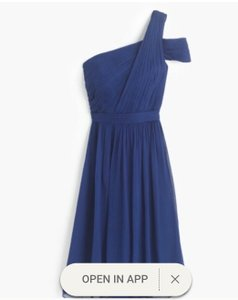 J.Crew Dark Cove Silk Chiffon Cara Formal Bridesmaid/Mob Dress Size 10 (M)