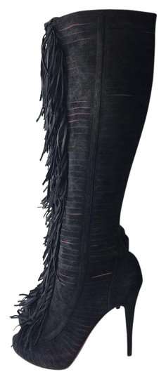 Preload https://item3.tradesy.com/images/christian-louboutin-black-devassima-120-suede-summer-fringed-bootsbooties-size-eu-395-approx-us-95-r-21575237-0-2.jpg?width=440&height=440