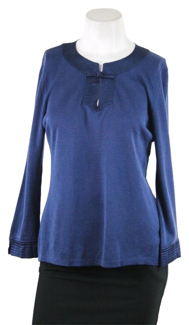 Preload https://item5.tradesy.com/images/shanghai-tang-navy-blue-silk-cotton-34-sleeve-satin-trim-p-sweaterpullover-size-petite-0-xxs-21575269-0-1.jpg?width=400&height=650