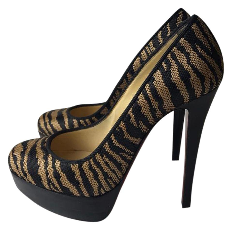 online store f068a 0efb9 Christian Louboutin Black Beige Bianca Flash Sale 140 Panama Tiger Pumps  Size EU 37 (Approx. US 7) Regular (M, B) 61% off retail