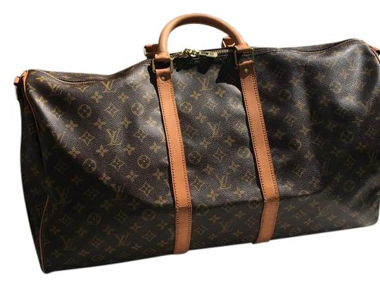 Preload https://item2.tradesy.com/images/louis-vuitton-keepall-55-brown-monogram-canvas-weekendtravel-bag-21575381-0-1.jpg?width=440&height=440