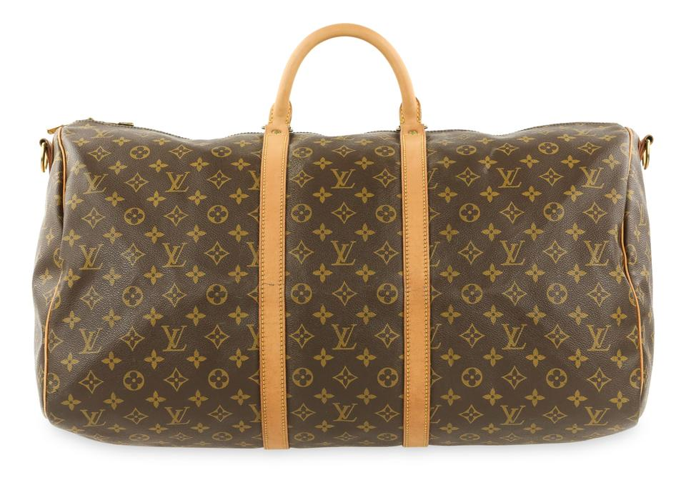 3be901cbebd6 Louis Vuitton Keepall Bandoulière 55 Monogram Brown Coated Canvas ...