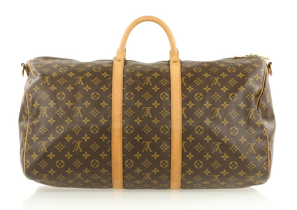 143cfe8d89f1 Louis Vuitton Keepall Bandoulière 55 Monogram Brown Coated Canvas Weekend Travel  Bag - Tradesy