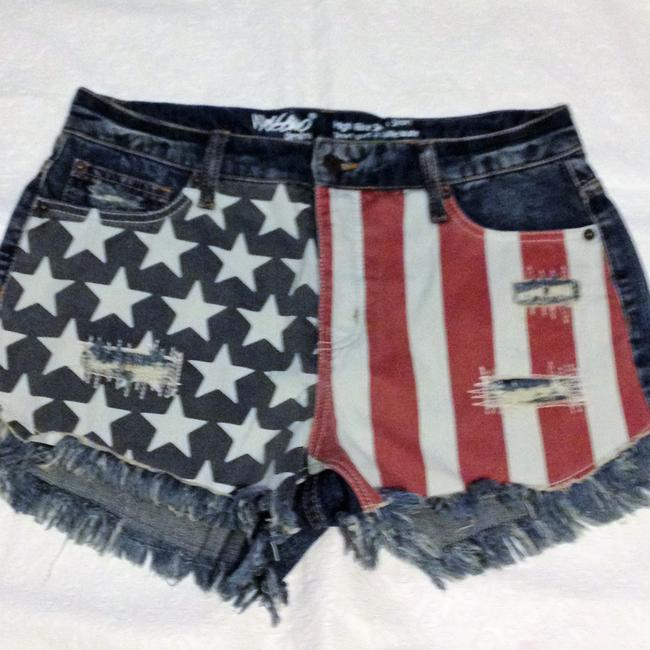 Mossimo Supply Co. American Flag 4th Of July Mini/Short Shorts Demin red white & blue