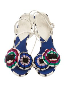 Chanel Ruffle Summer Embroidered Floral White multi Sandals
