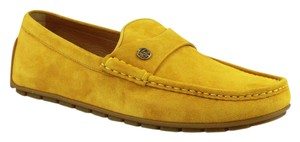 Gucci Yellow Suede Leather Loafer W/Interlocking G 9g / Us 9.5 386587 7008 Shoes