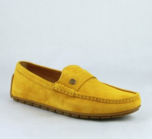 Gucci Yellow Suede Leather Loafer W/Interlocking G 10g / Us 10.5 386587 7008 Shoes