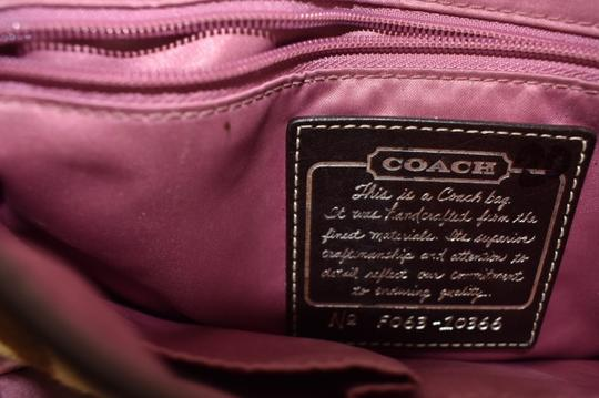 Coach Animal Print Pink Satin Leather Shoulder Bag