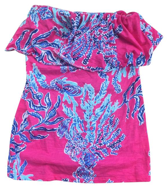 Preload https://img-static.tradesy.com/item/21575996/lilly-pulitzer-pinkblue-wiley-strapless-tank-topcami-size-4-s-0-1-650-650.jpg