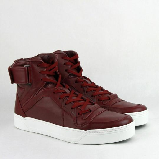 Gucci Strong Red Leather High Top Sneakers W/Velcro Strap 6.5g / Us 7.5 386738 6148 Shoes