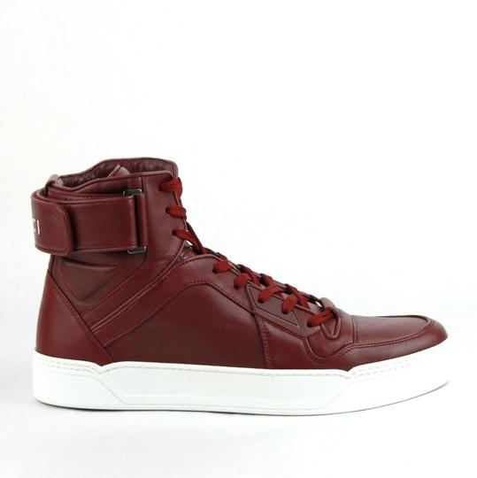 Gucci Strong Red Leather High Top Sneakers W/Velcro Strap 7g / Us 8 386738 6148 Shoes