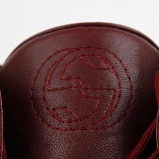 Gucci Strong Red Leather High Top Sneakers W/Velcro Strap 7.5g / Us 8.5 386738 6148 Shoes