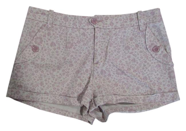 Lux Floral Summer Casual Mini/Short Shorts Lavender/Off White