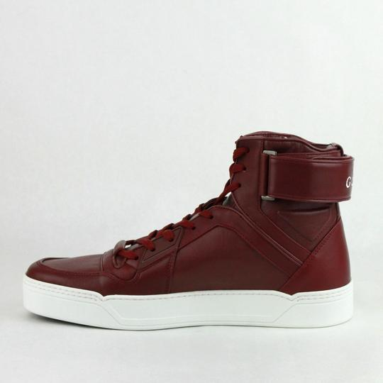 Gucci Strong Red Leather High Top Sneakers W/Velcro Strap 8g / Us 9 386738 6148 Shoes