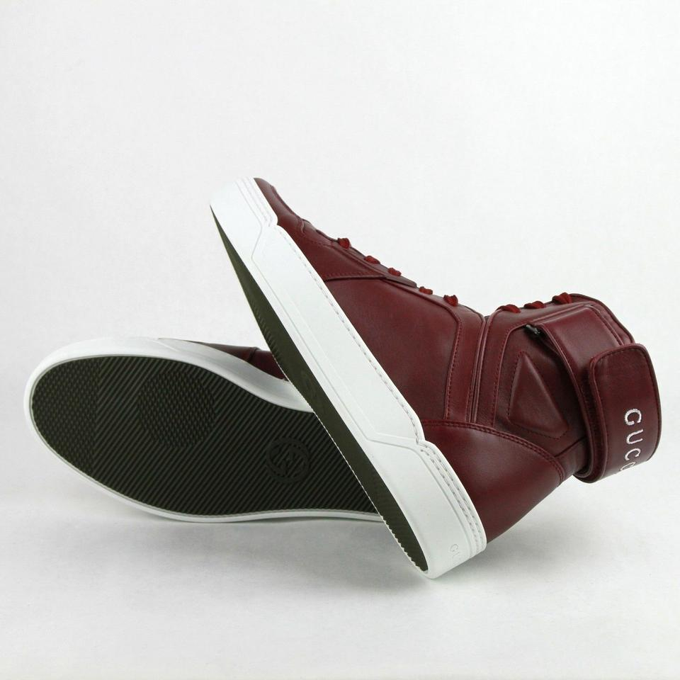 bdf91391c441 Gucci Strong Red Leather High Top Sneakers W Velcro Strap 9.5g  Us 10.5.  123456789