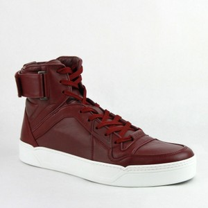 Gucci Strong Red Leather High Top Sneakers W/Velcro Strap 11g / Us 12 386738 6148 Shoes
