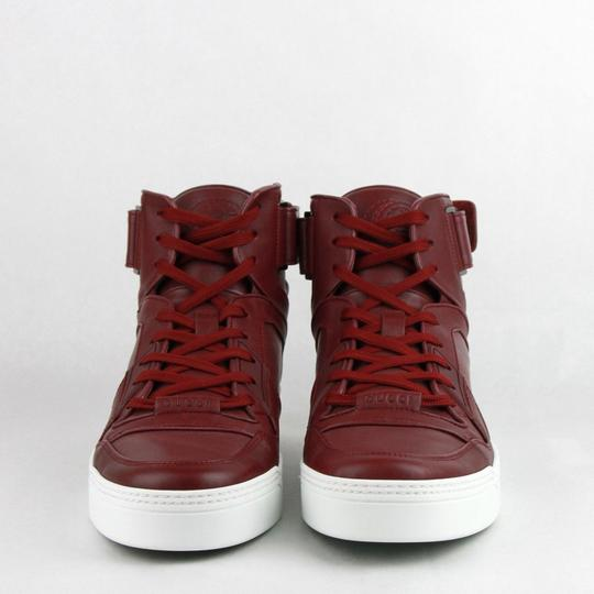 Gucci Strong Red Leather High Top Sneakers W/Velcro Strap 11.5g / Us 12.5 386738 6148 Shoes
