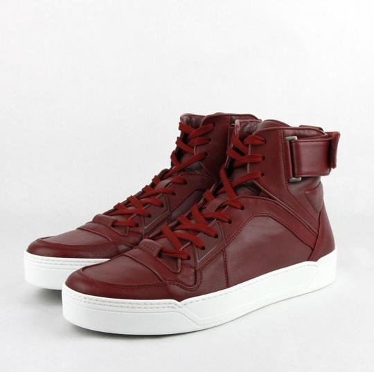 Gucci Strong Red Leather High Top Sneakers W/Velcro Strap 12g / Us 13 386738 6148 Shoes