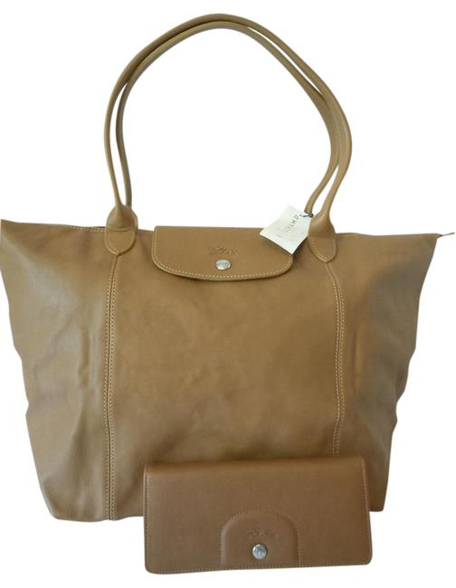 Item - Set Le Pliage Cuir Wallet/Large Made In France Dustbag Natural Brown Camel Lambskin Leather Tote