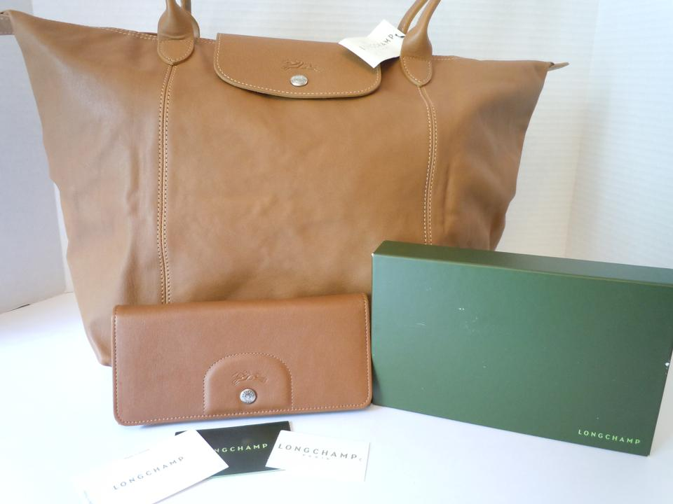 Longchamp Set Le Pliage Cuir Wallet/Large Made In France Dustbag Natural  Brown Camel Lambskin Leather Tote 22% off retail