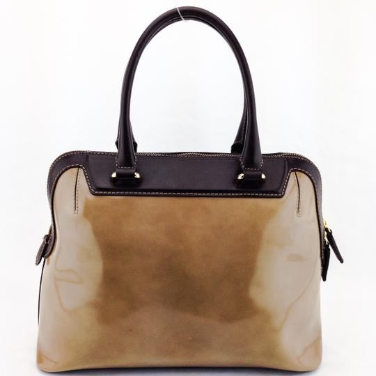 IACUCCI Patent Leather Structured Bowling Doctor Satchel in Brown
