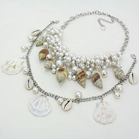 Luciano Dante Seaworld Sealife Seashell Pearl Clustered Double Necklace And Earring
