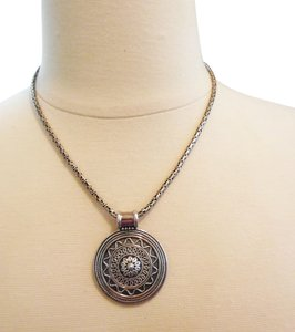 .925 Sterling Silver Artisan Crafted Scroll Design Medallion and 23 Inch Textured Necklace