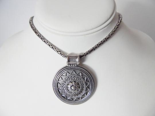Other .925 Sterling Silver Artisan Crafted Scroll Design Medallion and 23 Inch Textured Necklace