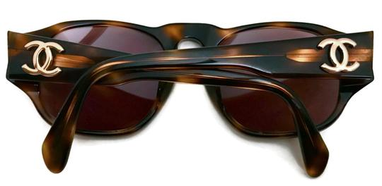 Chanel Vintage 80s CHANEL Brown Tortoise Shell Sunglasses w/ Gold CC Logos