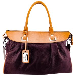 Preload https://item1.tradesy.com/images/valentina-maroon-and-tan-pebbled-leather-satchel-21576325-0-1.jpg?width=440&height=440