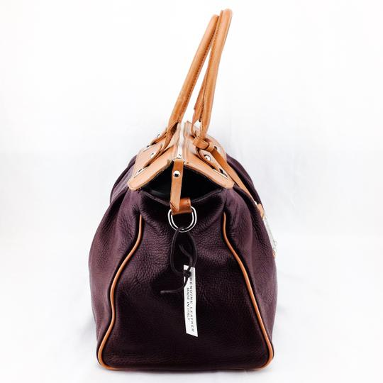 Valentina Pebbled Leather Zipper Silver Hardware Doctor Satchel in Maroon and Tan
