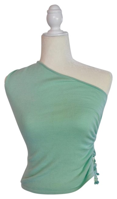 Item - Green Women's One Shoulder Mint Cashmere Beaded Blouse Size 4 (S)