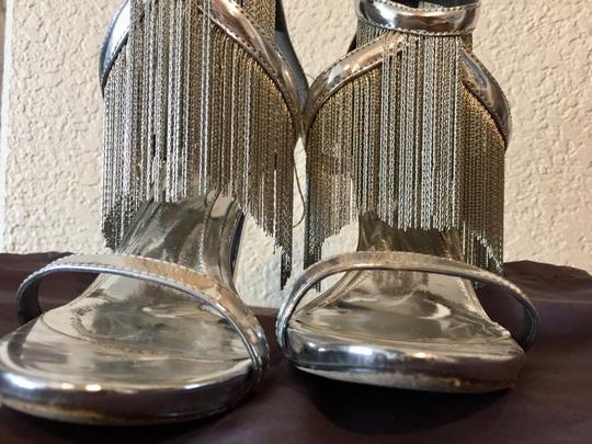 B Brian Atwood Patent Leather Fringe Cocktail Attire Metallic Silver Sandals