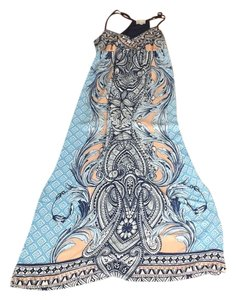 Blue/Pink Pattern Maxi Dress by Greylin