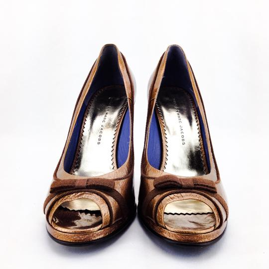 Marc by Marc Jacobs Patent Leather Bow Peep Toe Open Toe Bronze Pumps