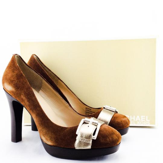 MICHAEL Michael Kors Suede Round Toe Belted Stacked Heel Leather Tobacco Brown Pumps