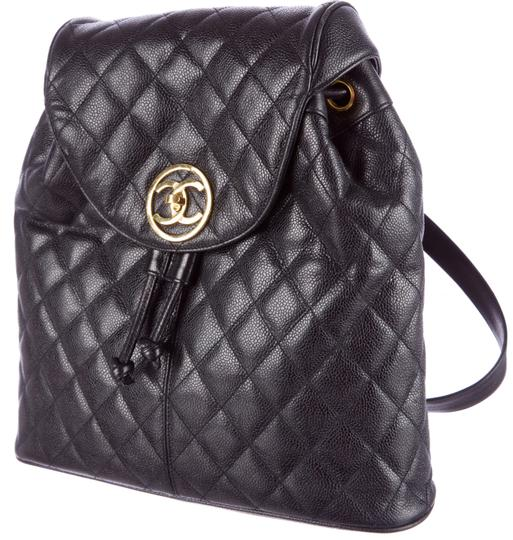 Chanel Knapsack Quilted Cc Logo Caviar Leather Classic Flap Backpack Image 2
