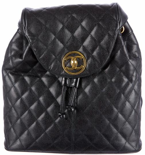 Chanel Knapsack Quilted Cc Logo Caviar Leather Classic Flap Backpack Image 3